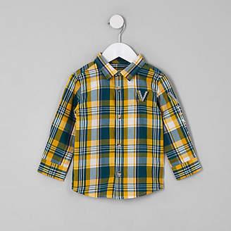 River Island Mini boys green venti check shirt