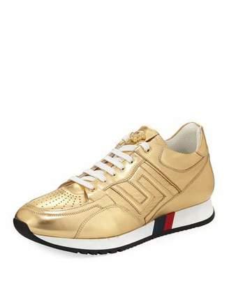 Versace Greek Key Running Shoe, Gold