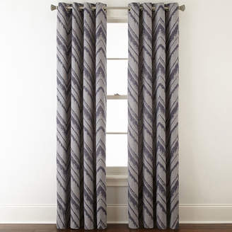 STUDIO BY JCP HOME StudioTM Painterly Chevron Grommet-Top Curtain Panel