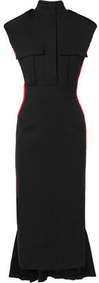 Alexander McQueen Grosgrain-trimmed Wool-blend Crepe Dress - Black