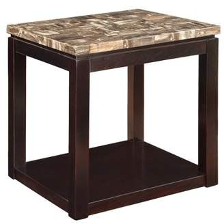 ACME Furniture ACME Dusty End Table, Faux Marble & Espresso
