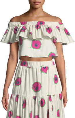 Double J Double Love Off-the-Shoulder Floral-Print Cropped Cotton Top