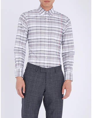 Thom Browne Checked slim-fit cotton-Oxford shirt