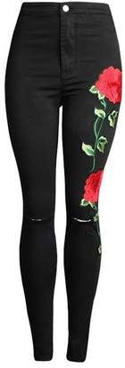 Hotsexrweue New NEW Women's Vintage Embroider Flowers jeans Sexy Ripped Pencil Stretch Denim Pants Female Slim Skinny Trousers Jeans 2102 M
