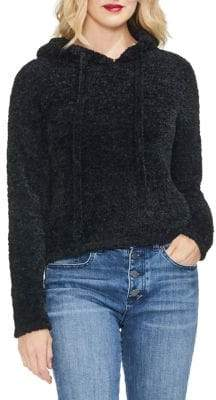 Vince Camuto Sapphire Sheen Hooded Teddy Sweater