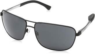 Emporio Armani Metal Square Sunglasses in Black Rubber EA2033 309487