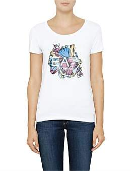Emporio Armani Floral Print Logo Tshirt