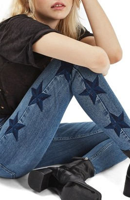 Women's Topshop Jamie Star Embroidered Skinny Jeans $110 thestylecure.com