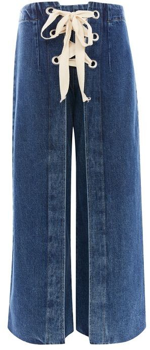 TopshopTopshop Moto lace up cropped wide leg jeans