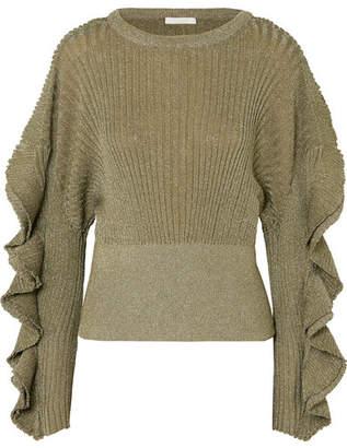 Chloé Ruffled Metallic Ribbed Stretch Silk-blend Sweater - Gold