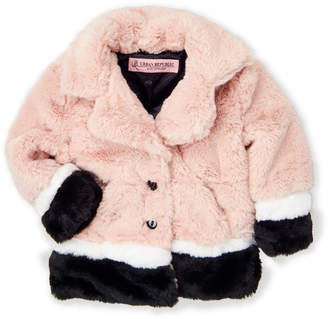 Urban Republic Toddler Girls) Rose Faux Fur Colorblock Jacket