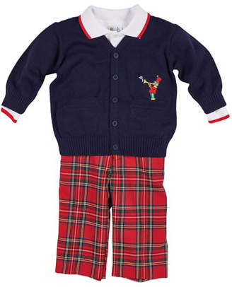 Florence Eiseman Tartan Plaid Pants, Knit Sweater & Long-Sleeve Polo Top, Size 12-24 Months