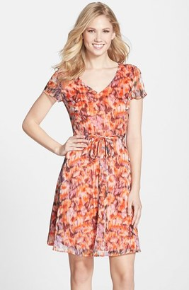 MARC NEW YORK by Andrew Marc Print Crêpe de Chine Fit & Flare Dress