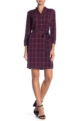 Donna Morgan MJ Plaid Print Waist Tie Dress