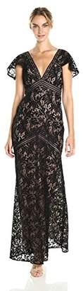 BCBGMAXAZRIA Azria Women's Katrina Short Cape Sleeved Lace Knit Evening Dress, 6