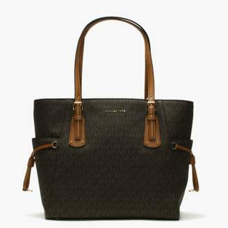 Michael Kors Voyager Brown Coated Canvas Logo Tote Bag