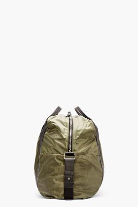 Damir Doma Olive Nylon Leather-Trimmed Duffle Bag