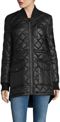 French Connection Women's Zip Stand Collar Quilted Coat