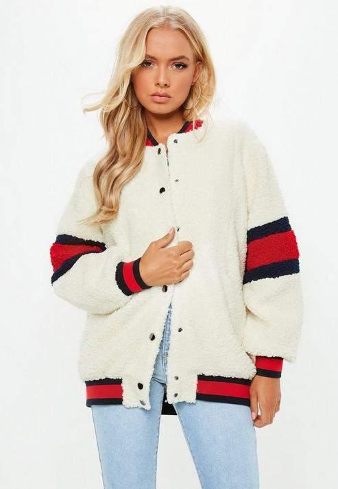 Petite Cream USA Teddy Bear Bomber Jacket