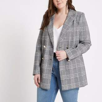 River Island Womens Plus grey check double breasted blazer