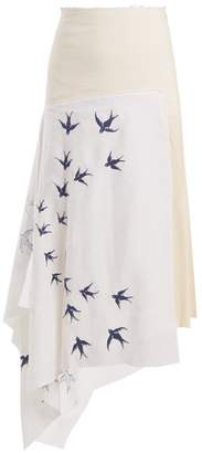 J.W.Anderson Swallow Embroidered Contrast Panel Linen Skirt - Womens - Cream