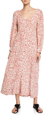 Ganni Ditsy Floral Button-Front Long-Sleeve Maxi Dress