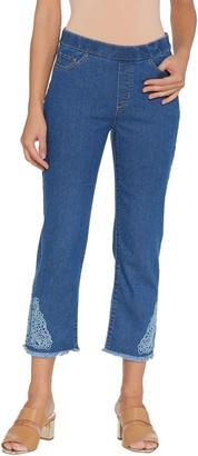 Susan Graver Petite Stretch Denim Pull-On Crop Pants