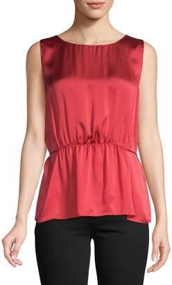 Theory Shirred Silk Top
