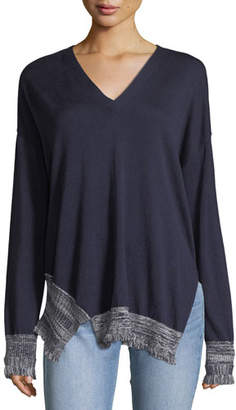 Derek Lam 10 Crosby V-Neck Long-Sleeve Silk-Blend Pullover Sweater