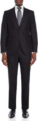 Luigi Bianchi Mantova Two-Piece Black Vertical Chevron Suit