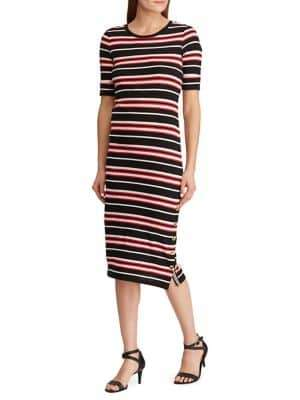 Lauren Ralph Lauren Slim-Fit Striped Cotton Midi Dress