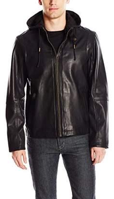 Cole Haan Men's Washed Leather Zip Off Hood Moto Jacket
