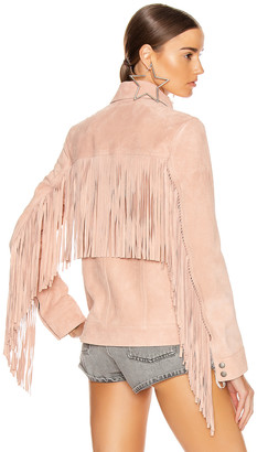 Saint Laurent Fringe Jacket in Rose Pale | FWRD