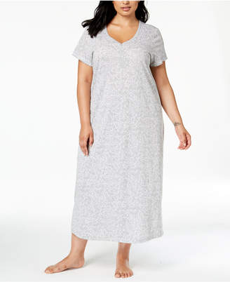 Charter Club Plus Size Cotton Printed Nightgown, Created for Macy's