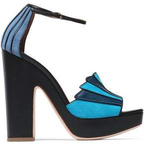 Malone Souliers Woman Leather And Suede Platform Sandals Blue Size 38 Malone Souliers 79Zl7hj4c