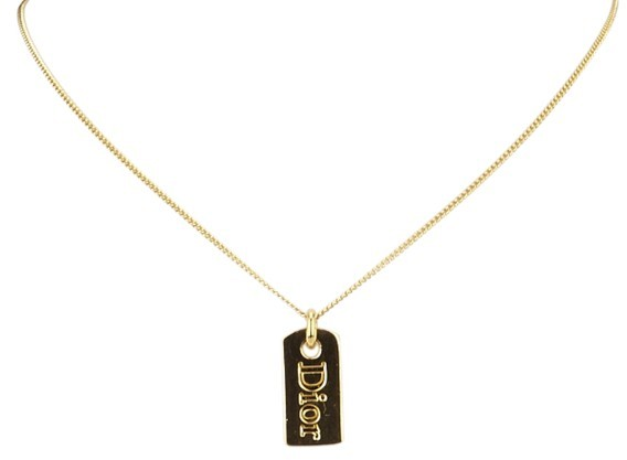 Christian Dior  Dior Gold-Tone Metal Engraved Tag Pendant Necklace