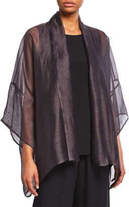 eskandar Scrunched Shawl Collar Linen-Silk Jacket