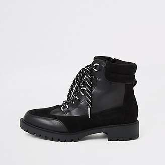 River Island Black lace-up chunky hiker boots