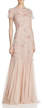 Adrianna Papell Short-Sleeve Beaded Gown $300 thestylecure.com
