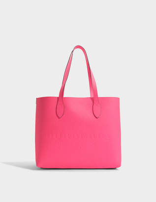 Burberry Large Remington Tote Bag in Neon Pink Grained Calfskin