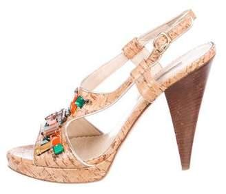 Oscar de la Renta Embellished Cork Sandals