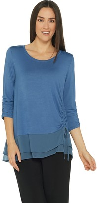 Halston H By H by Scoop-Neck Asymmetric Woven Hem Tunic with Ruching