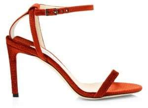 Jimmy Choo Minny Textured Suede Ankle-Strap Sandals