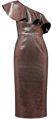 Rachel Zoe One-shoulder Metallic Woven Midi Dress