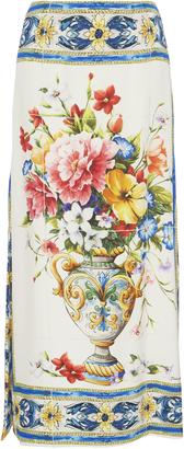 Dolce & Gabbana Printed Stretch Silk-Charmeuse Midi Skirt $1,195 thestylecure.com