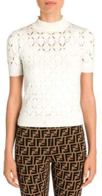 Fendi Mockneck Cutout Knit Top
