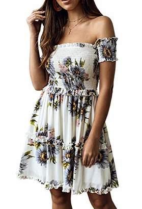 KIRUNDO Women's 2019 Summer Off Shoulder High Waist Floral Printed Beach Mini Shift Dress (