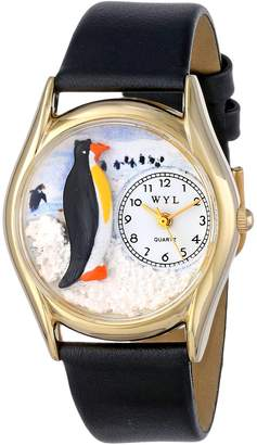 Whimsical Watches Kids' C0140010 Classic Penguin Black Leather And tone Watch