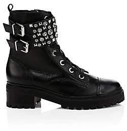 Schutz Women's Jewelled Leather Combat Boots