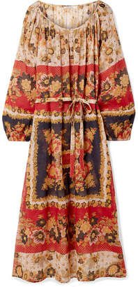 Mes Demoiselles Matrioshka Printed Cotton-voile Midi Dress - Brick